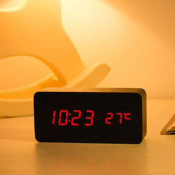 1pcs Vintage Style Thermometer Display Luminous Alarm Clock LED Wooden Cube Desk Sound Control Alarm Clock Creatived Table Clock