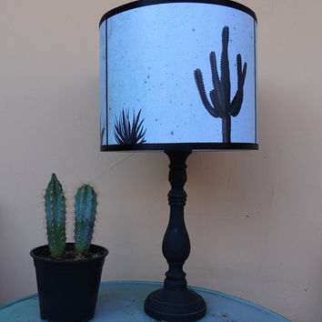 Cactus and Agave blue lamp shade lampshade - unique light, lighting, accent lampshade, cactus, succulents, teal blue, contemporary decor