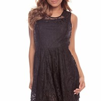 BLACk SLEEVELESS SCOOPED NECKLINE FLORAL LACE CASUAL DRESS