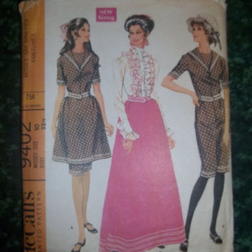 30% Off 1960's McCall's Sewing Pattern, 9402! Size 10 Women's/Misses Small, Jumpsuit bathing Costume, Blouse/Skirt, Nineties Costumes