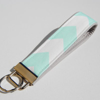 Mint green chevron Key fob with light gray accent, jade, pastel, key chain, lanyard, wristlet
