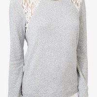 Lace Trim French Terry Sweatshirt