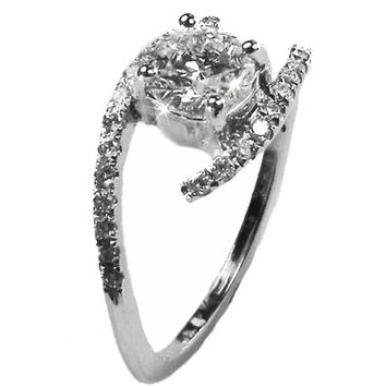 Diamond Ring, Engagement ring, Twist Ring 14 kt White Gold 0.68 ct. total Diamonds IGL Report