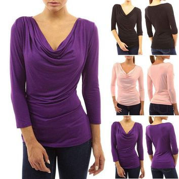 Womens Cowl Neck Ruched Blouse Top Shirt Summer Evening Cocktail Party Tops