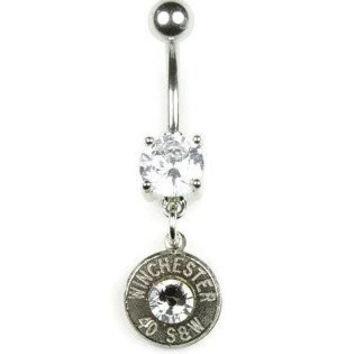 40 Caliber Winchester® Nickel Bullet Dangle Belly Button Ring WIN-#-N/B-DBY