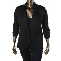 Style & Co. Womens Faux Trim Ruched One-Button Blazer