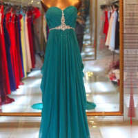 Cheap A-line Sweetheart Sweep Train Beaded Long Prom Dress, Prom Dresses, Evening Dresses, Formal Dresses, Bridal Dresses