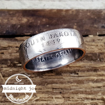 South Dakota State Quarter Coin Ring