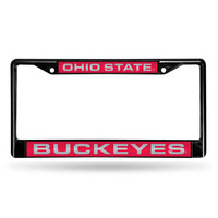 Ohio State Buckeyes NCAA Black Chrome Laser Cut License Plate Frame