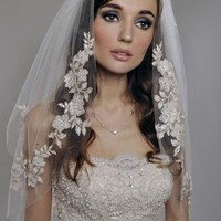 Wedding Veil 2Tier with Gorgeous FRENCH Appliques by AlisaBrides