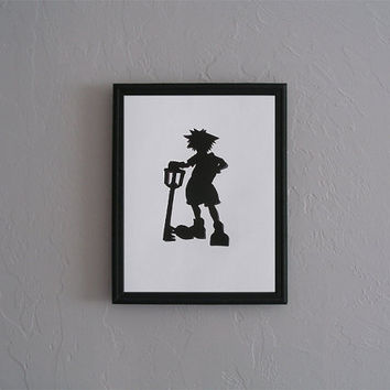Sora with Keyblade   Kingdom Hearts   Hand cut black silhouette papercut