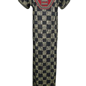 Mogul Interior Womens Maxi Dress Caftan Printed Boho Summer Chic Kaftan Nightgown Nightdress