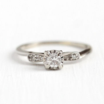 Vintage Diamond Ring - 14k White Gold 1/5 CTW Diamond Engagement - Mid Century 1950 Size 7 Illusion Head Promise Fine Jewelry Accent Stones