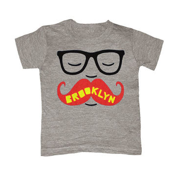 TODDLER / Brooklyn Mustache - Kids T-shirt Boy Girl Youth Children Gray Tee Shirt Cute Beard Hipster Geek Funny New York NY NYC Grey Tshirt