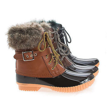 Duck01 Round Toe Lace Up Faux Fur & Shearling Women's Rainboots