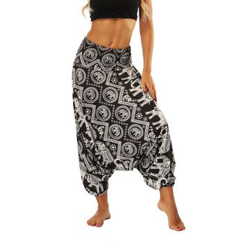 Super Loose Sweatpants Yoga Pants Men Women Pyjama Trousers Sleep Bloomers Pants Harem Trousers Printed Dance Indian Trousers