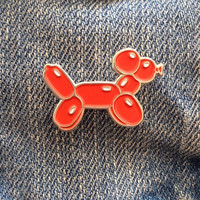 Red Balloon Dog Enamel Pin Badge