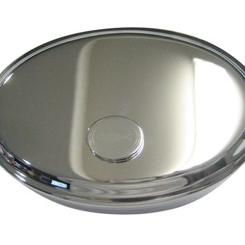 Silver Toned Etched Oval Religious Ichthys Jesus Fish Oval Trinket Jewelry Box