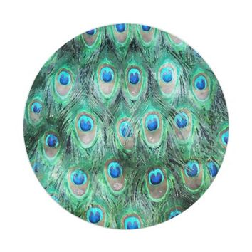 Peacock Feathers Exotic Wild Watercolor Pattern Paper Plate