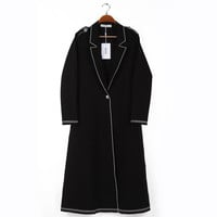 Black Long-Sleeve Notched Button Long Coat