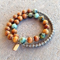 Healing and Change, Sandalwood and African Turquoise 27 Beads Unisex Mala Bracelet