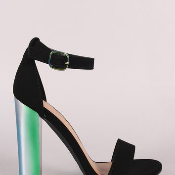 Bamboo Nubuck Ankle Strap Chunky Holographic Chunky Heel