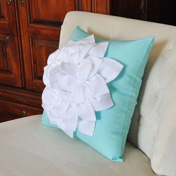 White Dahlia Flower on Coral Pink Pillow Accent Pillow Throw Pillow Toss Pillow