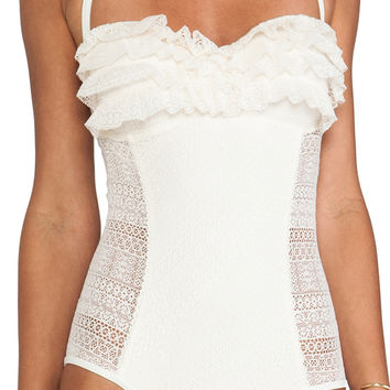 Juicy Couture Ruffle Bandeau One Piece in Ivory