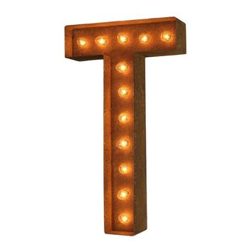 "12"" Letter T Lighted Vintage Marquee Letters (Modern Font/Rustic)"