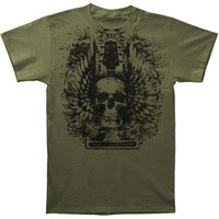 Novelty Men's  Skull Wings Headstock T-shirt Green