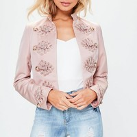 Missguided - Premium Pink Military Button Detail Cropped Jacket