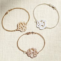 Initial Reaction Single Cursive Monogram Bracelet