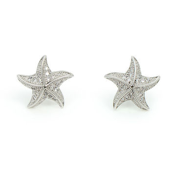 Platinum Plated CZ Starfish Small Stud Earrings