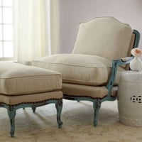 Old Hickory Tannery - Burlap Bergere Chair & Ottoman - Horchow