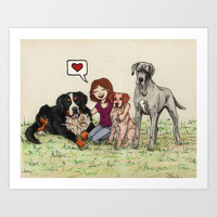 I love dogs Art Print by Savousepate
