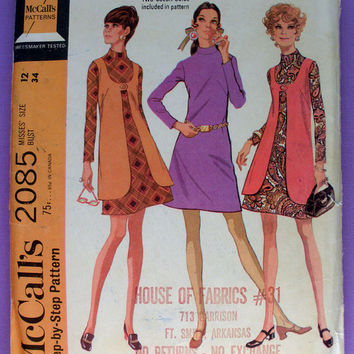 Vintage 1960's Dress and Long Vest Misses' Size 12 Bust 34 McCall's 2085 Sewing Pattern