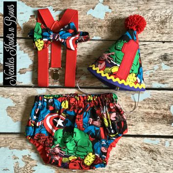 Boys Avengers Cake Smash Outfit, Boys 1st Birthday Outfit, Avengers Birthday, Superhero Birthday, Avengers Smash the Cake Set