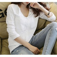 """""""Free People"""" Solid Color Fashion Casual Retro V-Neck Long Sleeve Loose Shirt Tops"""