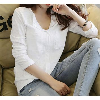 """Free People"" Solid Color Fashion Casual Retro V-Neck Long Sleeve Loose Shirt Tops"