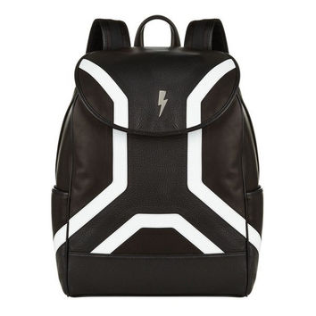 Lightening Black Leather Backpack by Neil Barret