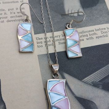Blue and Pink mother of pearl inlay sterling silver demi parure vintage set earrings and necklace