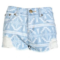Aztec Rip Denim Hotpants - Womens Clothing Sale, Womens Fashion, Cheap Clothes Online | Miss Rebel