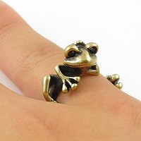 Animal Wrap Ring - Tree Frog - Bronze - Adjustable Ring - keja jewelry