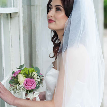 'A Bridal Veil with Blusher' - Two Tier Cut Edge (Multiple Lengths)