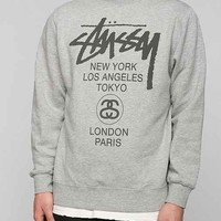 Stussy World Tour Pullover Sweatshirt- Charcoal