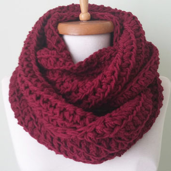CHRISTMAS SALE - Chunky Knit Scarf in Claret, wool crochet infinity scarf, knitted scarf, crochet infinity scarves,  chunky knit scarf