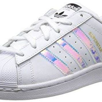 VLXFV1 adidas Originals Superstar J White/Iridescent Leather Youth Trainers