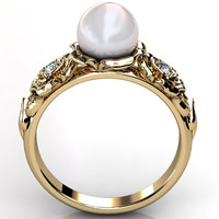 14k yellow gold white South Sea pearl diamond unusual unique floral engagement ring, bridal ring, wedding ring ER-1090-2