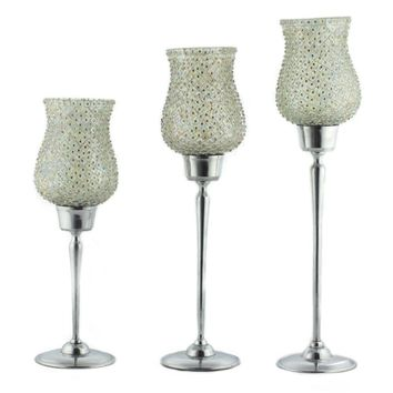 Fabulous 3 Piece Candle Holder With Beaded Mosaic Glass