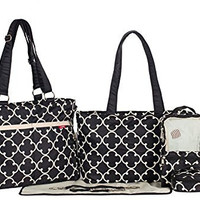 SoHo Collection, Charlotte 9 pieces Diaper Tote Bag set *Limited time offer *(CLASSIC BLACK)